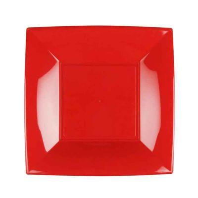 Piatti quadrati lavabili per microonde rossi 23x23 cm