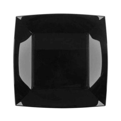 Piatti quadrati lavabili per microonde neri 23x23 cm