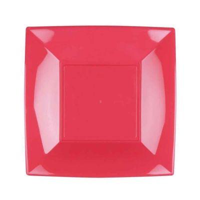 Piatti quadrati lavabili per microonde rosa corallo 23x23 cm