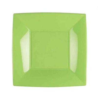 Piatti quadrati lavabili per microonde verde acido 23x23 cm