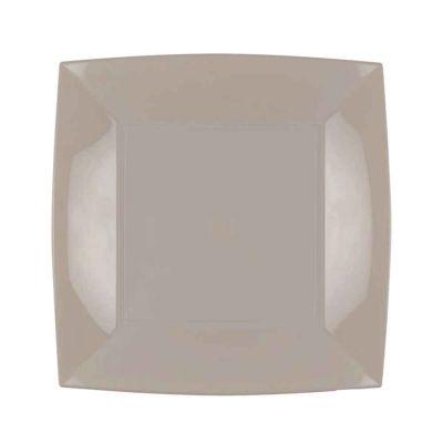Piatti quadrati lavabili per microonde beige tortora 23x23 cm