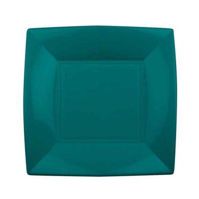 Piatti quadrati lavabili per microonde verde smeraldo 23x23 cm