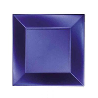 Piatti quadrati lavabili per microonde blu perla 23x23 cm
