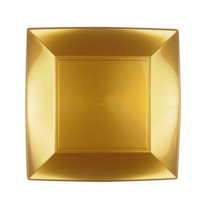 Piatti quadrati lavabili per microonde colore oro 23x23 cm