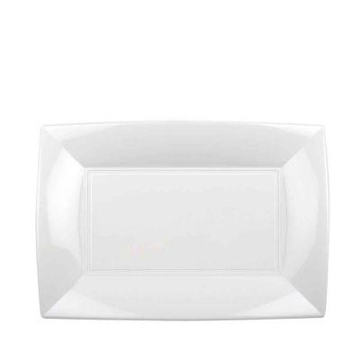 Piatti rettangolari lavabili per microonde bianchi 28x19 cm