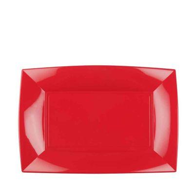 Piatti rettangolari lavabili per microonde rossi 28x19 cm