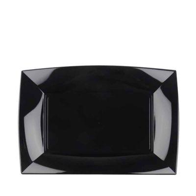 Piatti rettangolari lavabili per microonde neri 28x19 cm