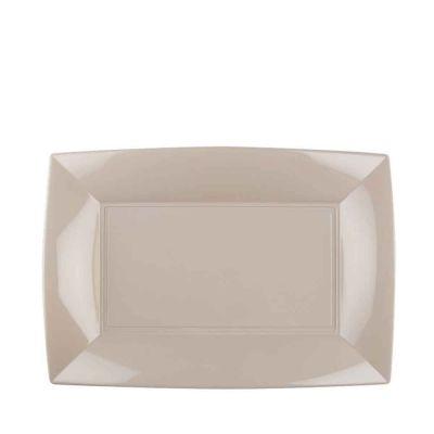 Piatti rettangolari lavabili per microonde tortora 28x19 cm