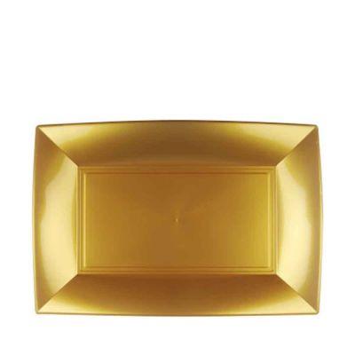 Piatti rettangolari lavabili per microonde oro 28x19 cm