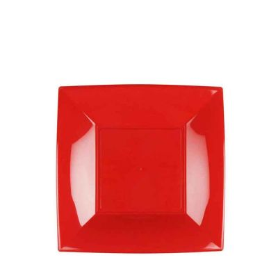 Piatti quadrati piccoli lavabili per microonde rossi 18x18 cm