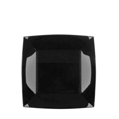 Piatti quadrati piccoli lavabili per microonde neri 18x18 cm