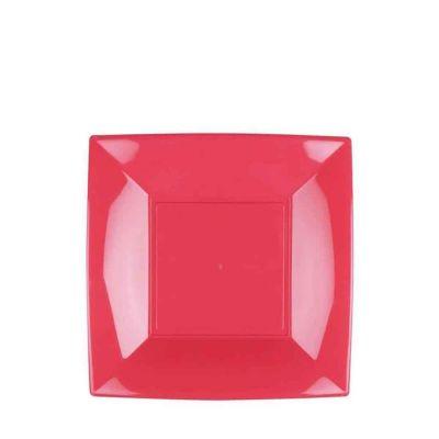 Piatti quadrati piccoli lavabili per microonde rosa corallo 18x18 cm