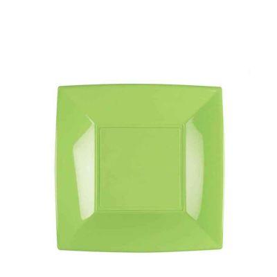 Piatti quadrati piccoli lavabili per microonde verde acido 18x18 cm