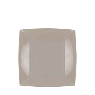 Piatti quadrati piccoli lavabili per microonde beige tortora 18x18 cm