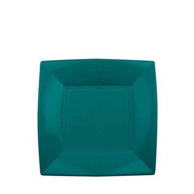 Piatti quadrati piccoli lavabili per microonde verde 18x18 cm