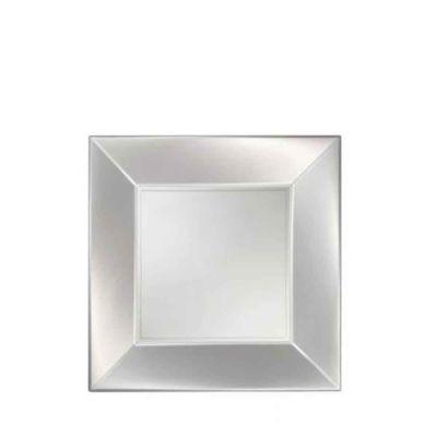 Piatti quadrati piccoli lavabili per microonde bianco perla 18x18 cm