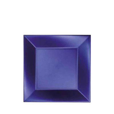 Piatti quadrati piccoli lavabili per microonde blu perla 18x18 cm