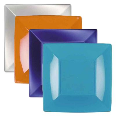 Piatti quadrati piccoli lavabili per microonde colorati 18x18 cm