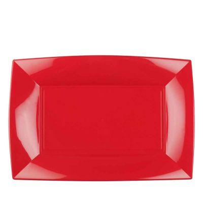 Vassoi rettangolari lavabili da esposizione rossi 34x23 cm