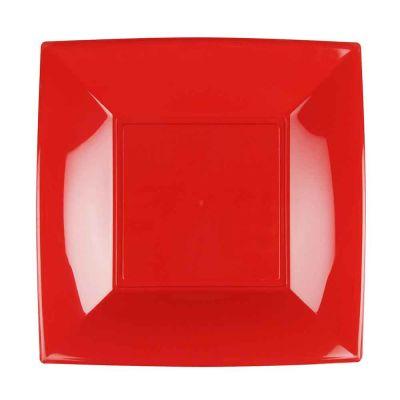 Piatti quadrati grandi lavabili per microonde rossi 29x29 cm