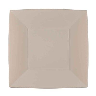 Piatti quadrati grandi lavabili per microonde tortora 29x29 cm