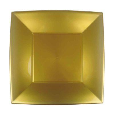 Piatti quadrati grandi lavabili per microonde oro 29x29 cm