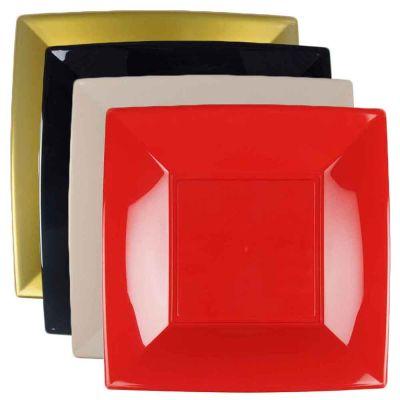 12 Piatti quadrati grandi lavabili in plastica rigida per microonde 29x29 cm