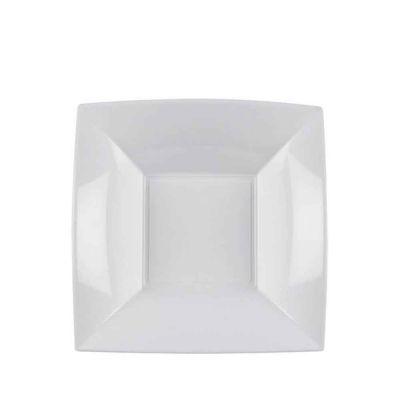 Piatti quadrati fondi lavabili per microonde bianchi 18x18 cm