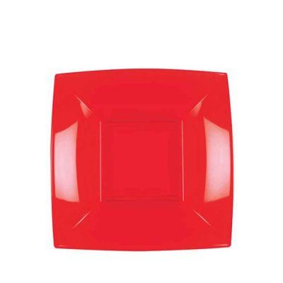 Piatti quadrati fondi lavabili per microonde rossi 18x18 cm