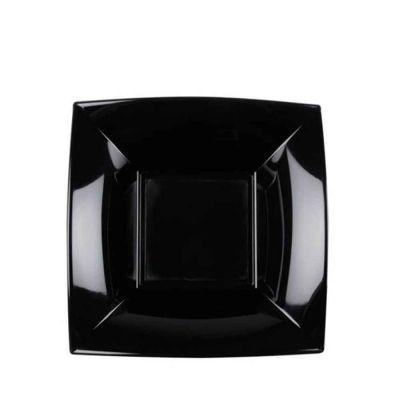 Piatti quadrati fondi lavabili per microonde neri 18x18 cm