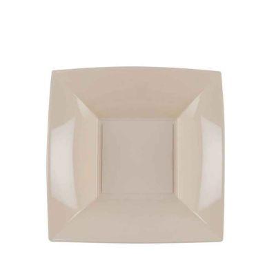 Piatti quadrati fondi lavabili per microonde beige 18x18 cm
