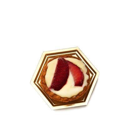 Vassoi monoporzione Mignon oro esagonale con pasticcino