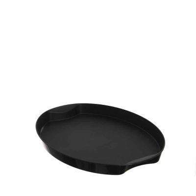 Vassoio ovale nero soft touch antiscivolo da servizio 30x22 cm