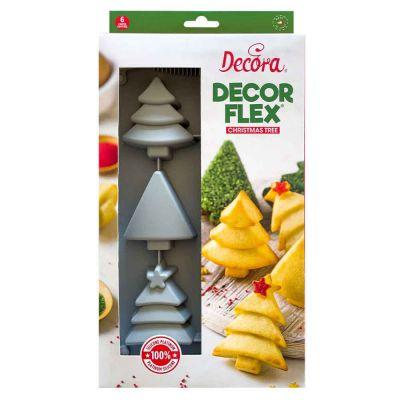 Stampo antiaderente in silicone per 6 alberi di Natale Decora