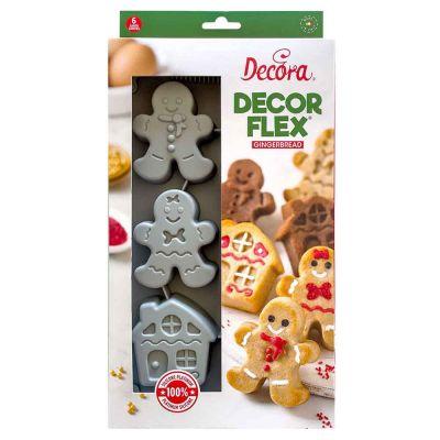 Stampo antiaderente in silicone per 6 casette e omini Gingerbread Decora
