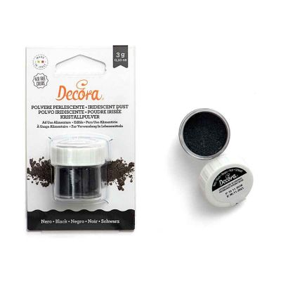Colorante in polvere perlescente per alimenti nero 3 g Decora