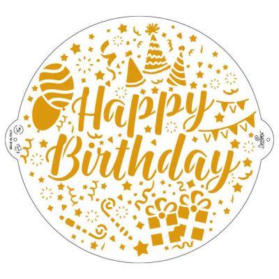 Stencil per torte Happy Birthday Ø25 cm Decora