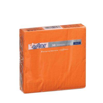 50 Tovaglioli di carta ovatta colorati 2 veli 33x33 Astor arancione