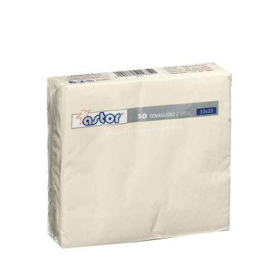 50 Tovaglioli di carta ovatta colorati 2 veli 33x33 Astor bianco avorio