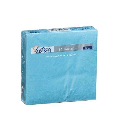 50 Tovaglioli di carta ovatta colorati 2 veli 33x33 Astor azzurro