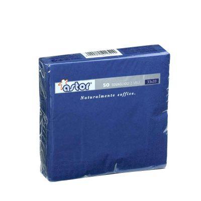 50 Tovaglioli di carta ovatta colorati 2 veli 33x33 Astor blu