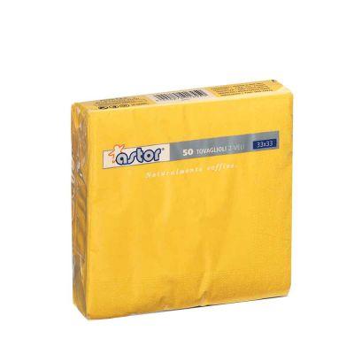 50 Tovaglioli di carta ovatta colorati 2 veli 33x33 Astor giallo mais
