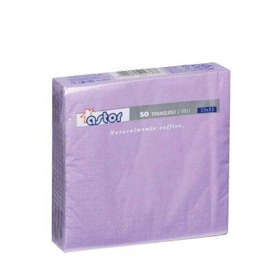 50 Tovaglioli di carta ovatta colorati 2 veli 33x33 Astor lilla