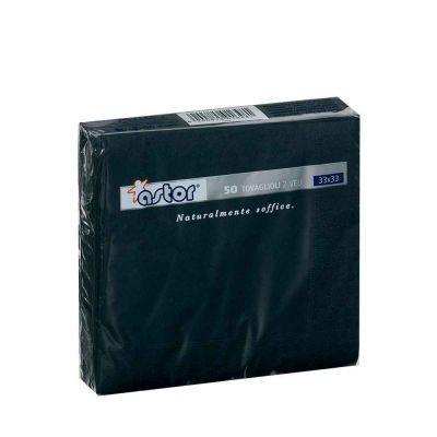 50 Tovaglioli di carta ovatta colorati 2 veli 33x33 Astor nero