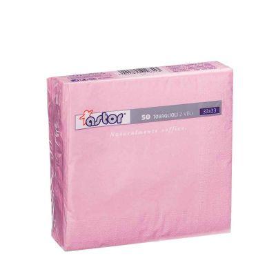 50 Tovaglioli di carta ovatta colorati 2 veli 33x33 Astor rosa
