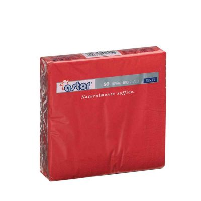 50 Tovaglioli di carta ovatta colorati 2 veli 33x33 Astor rosso