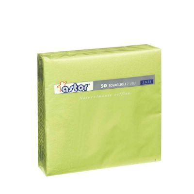 50 Tovaglioli di carta ovatta colorati 2 veli 33x33 Astor verde acido