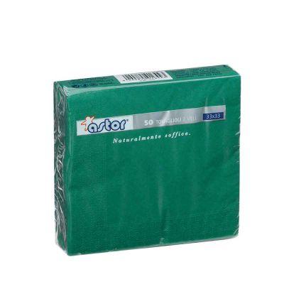 50 Tovaglioli di carta ovatta colorati 2 veli 33x33 Astor verde muschio
