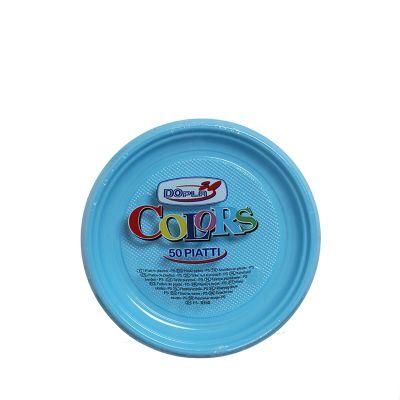 Piatti di plastica colorati per feste DOpla Colors Ø17 azzurro