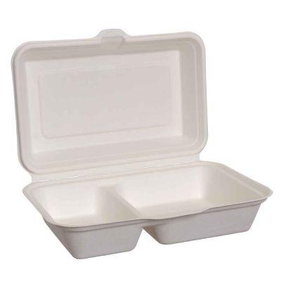 25 Box con coperchio per asporto 2 scomparti in polpa compostabili 15,5x23xh7cm